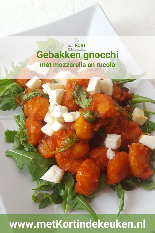gebakken gnocchi met mozzarella en rucola