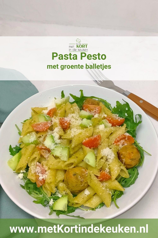 pasta pesto met groente balletjes