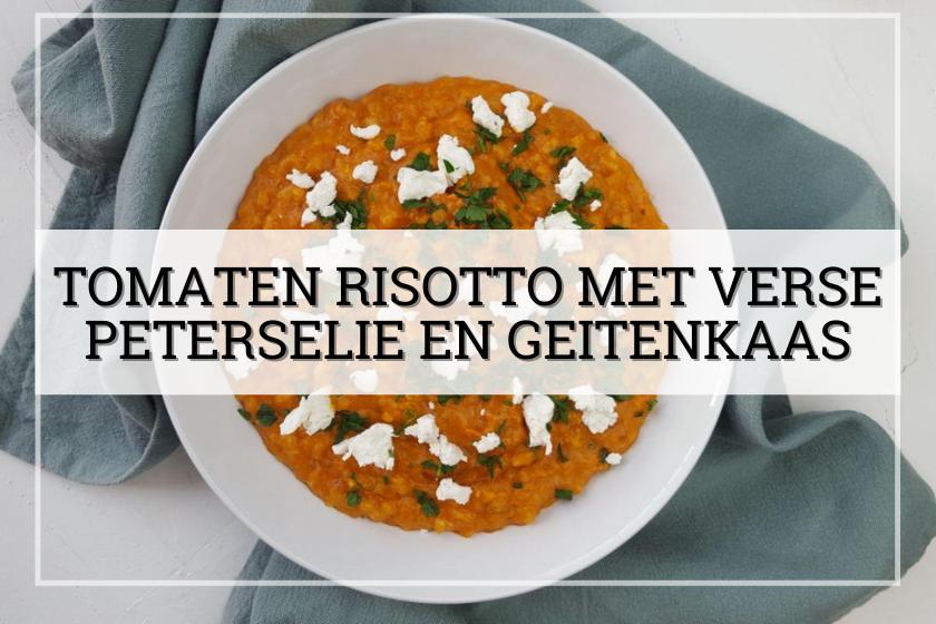 Tomaten risotto met verse peterselie en geitenkaas
