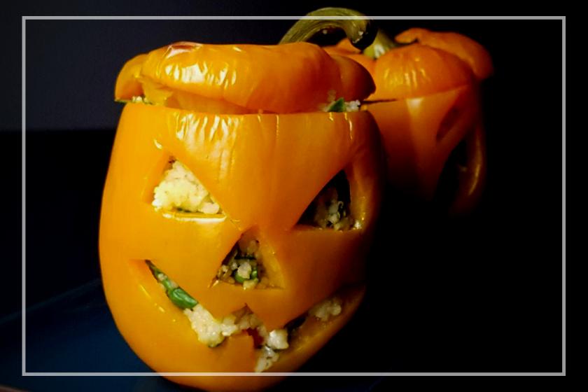 Gevulde halloween paprika's